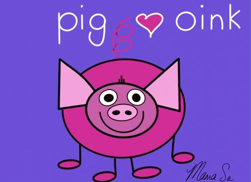 Cover image of Pig oink drawing eBook