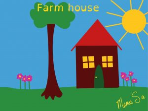 cover of farm house book. step-by-step drawing book.